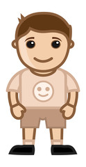 Happy Kid - Vector Character Cartoon Illustration