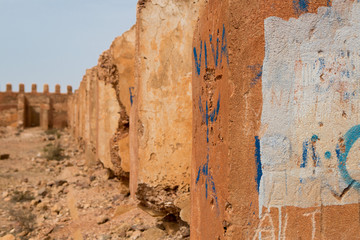 Detail of old colonial fort in Morocco