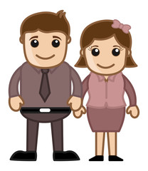 Husband Wife Standing Together - Vector Illustration