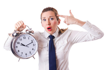 Woman with clock killing the time