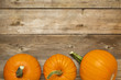 canvas print picture - autumn pumpkin on rustic wood