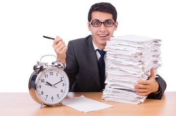 Busy man with stack of papers isolated on white