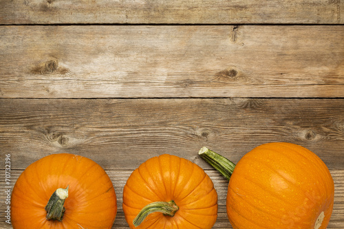 autumn pumpkin on rustic wood poster