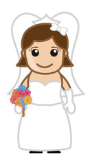 Cute Bride - Vector Character Cartoon Illustration