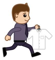 Running Carrying Shirt - Vector Cartoon Illustration