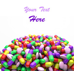 Many colorful medicines. Medical, pharmacy Background