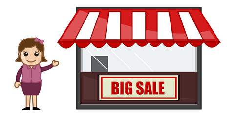 Big Sale Shop - Vector Cartoon Illustration