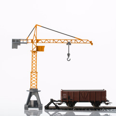 toy crane and railway car