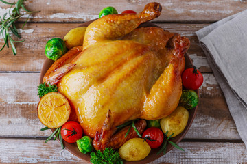 baked whole chicken with vegetables