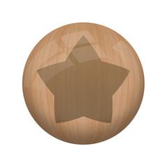 Bouton en bois sans ombre : étoile