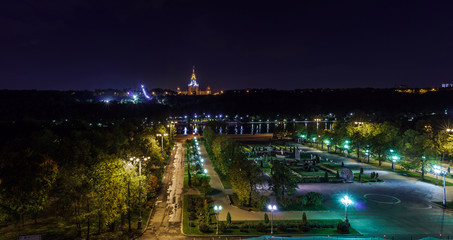 Moscow State University night view