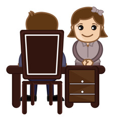 Interview Girl Candidate - Vector Cartoon Illustration