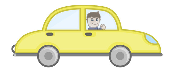 Man Driving Car - Vector Character Illustration