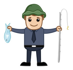 Fisherman - Vector Character Cartoon Illustration