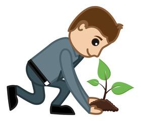 Planting a Tree - Vector Illustration