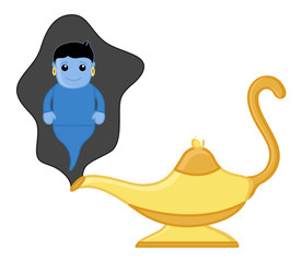 Magic Lamp Genie - Vector Illustration