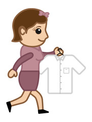 Going to Iron a Shirt - Vector Illustration