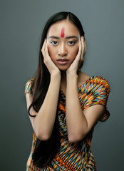 beauty young asian girl with make up like Pocahontas