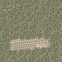 old keyboard covered by a lot of chips