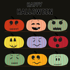 Happy Halloween funny pumpins greeting card vector.