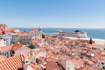 Big passenger ship in Lisbon port