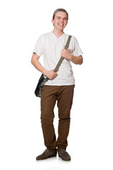 Student with backpack isolated on the white