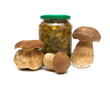 fresh and marinated mushrooms on a white background close-up