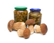 fresh and marinated mushrooms on a white background