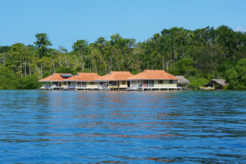 Caribbean vacation houses over water in Panama