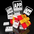 noble christmas present with app download symbol