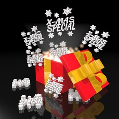noble christmas present with christmas special symbol