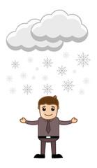 Cartoon Vector Character - Snowflakes Floating in Air