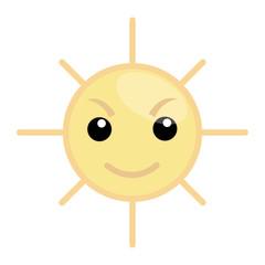 Angry Sun Cartoon Vector