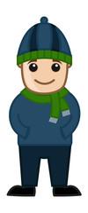 Cartoon Vector Boy in Winter Cloths