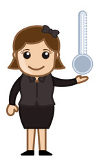 Girl Holding Thermometer