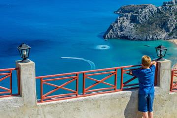 Greece, Rhodes, Tsambika Beach - View to the sea
