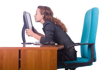 Happy with man sitting at the desk with computer