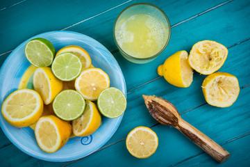 Homemade organic fresh lemon squeezed juice