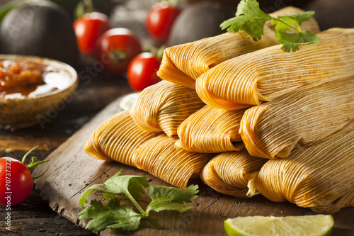 Foto op Canvas Vlees Homemade Corn and Chicken Tamales