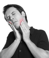 Man touching his face in agony, isolated on white background