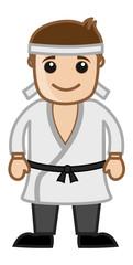 Cartoon Vector Character - Black Belt Karate Master