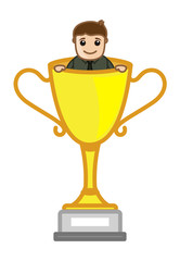 Cartoon Vector Character - Cartoon Man Standing in Victory Cup