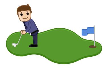 Cartoon Vector Character - Man Playing Golf