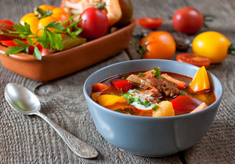 Traditional hungarian dish bograch goulash