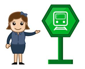 Cartoon Vector - Train Sign