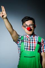 Funny clown saluting like Nazi