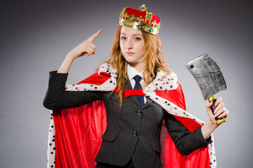 Woman queen businesswoman with axe