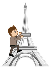 Cartoon Vector - Travel Paris - Eiffel Tower
