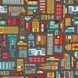 Seamless pattern background of cartoon city