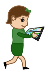 Cartoon Vector Guy - Map Search Tablet Device